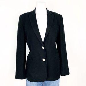 Lauren Ralph Lauren   Linen Black Button Blazer